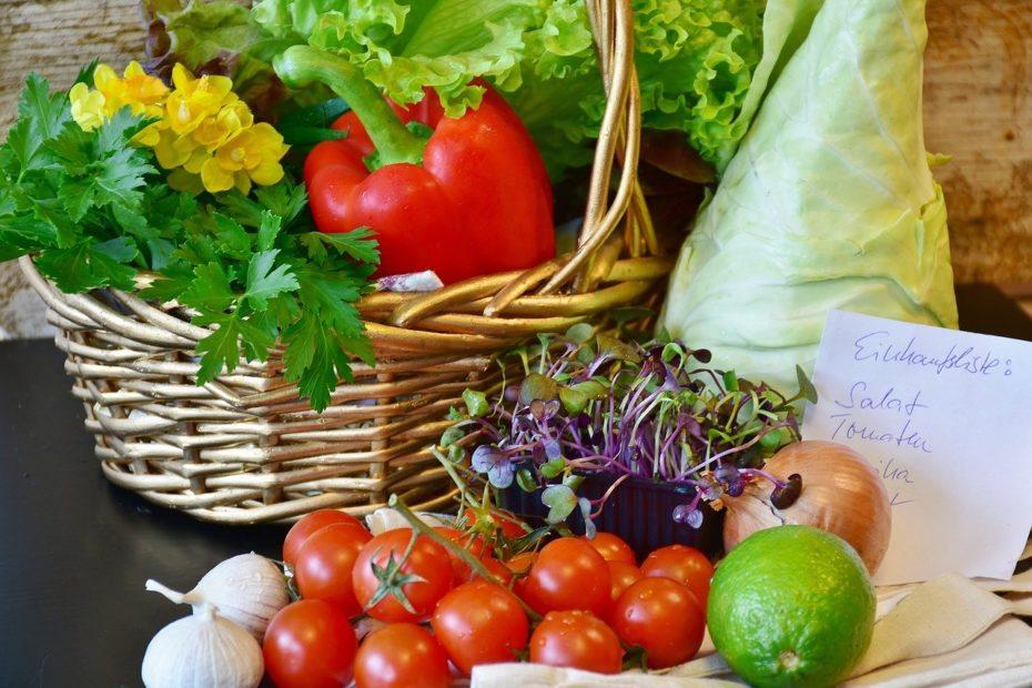 Gemüsekorb und Einkaufzettel
