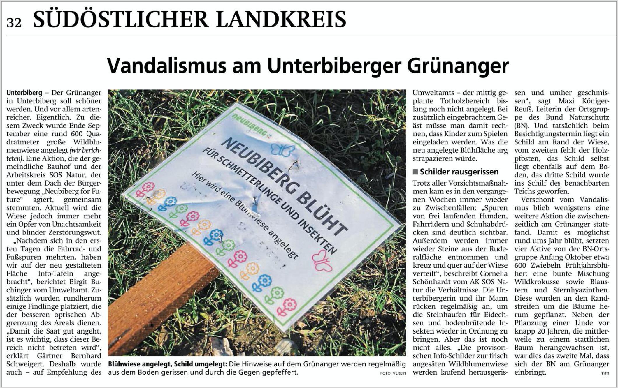 Vandalismus am Unterbiberger Grünanger